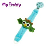 My Teddy pacifier holder with owl, green/blue