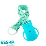 Esska pacifier holder with dots, turquoise