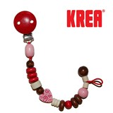 Krea pacifier holder  in wood with hearts, red