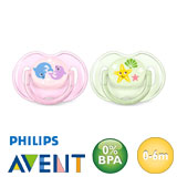 Philips Avent Classic, symmetrical, silicone size 1 (pink, green)