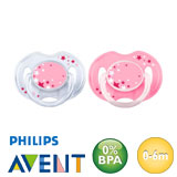 Philips Avent nighttime pacifiers, symmetrical, silicone size 1 (transparent, pink)