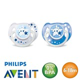 Philips Avent nighttime pacifiers, symmetrical, silicone size 2 (blue, blue)