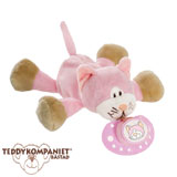 Teddykompaniet Diinglisar cuddly toy with pacifier holder, cat