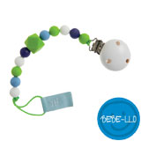 Bebe-llo Pacifier Chain, silicone, white/green
