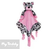 My Teddy security blanket and pacifier holder with leopard, pink