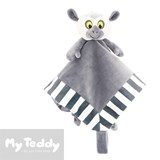 My Teddy security blanket and pacifier holder with lemur, grey